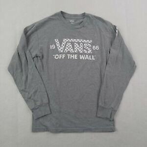 Vans Shirt Boys Small Youth Kids Gray Checkboard Checks Off The Wall Skater
