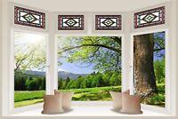 Huge 3D Bay Window Beautiful Green Meadow View Wall Stickers Film Wallpaper S44