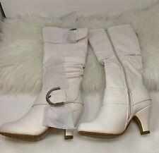 Top Moda Women's Mid Calf Buckle Strap Kitten Heel Slouch Dress Boots Size 5