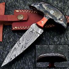 "Custom Hand Forged Damascus Steel Blade 6.5"" Hard Wood - Skinning Knife WD-9335"