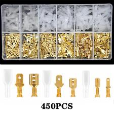 450Pcs 2.8/4.8/6.3mm Wire Crimp Connectors Female/Male Spade Terminals Set Brass