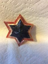 OLD PATRIOTIC PAPER RED WHITE BLUE STAR CHRISTMAS ORNAMENT