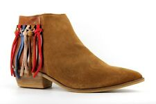 GUESS Joanah Womens UK 7 EU 40 Tan Brown Suede Tassel Detail Pointed Ankle Boots