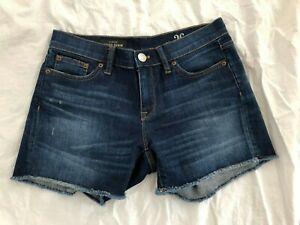 New J Crew Womens Blue Indigo Denim Cut Off Cotton Denim Jeans Shorts Size 26