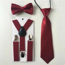 Set 3 accessori bimbi cravatta, papillon e bretelle, colore lucido
