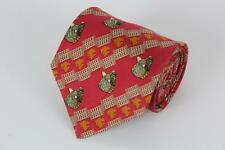PINEDA COVALIN Silk Tie. Red with Coyote Head Print.