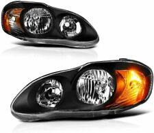 For 2003-2008 Toyota Corolla HeadLights HeadLamps Black LH+RH Set Pair 2PCS