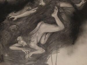 "Vintage Josef M. Kozak Original Artwork Drawing ""INTO THE ABYSS"" Signed Unframed"