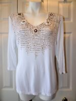 Womens Embellished beads Tribal Extensible Stretch Top Shirt Women's Size Large