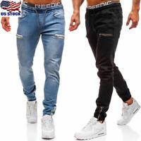 Mens Slim Fit Stretch Jeans Pants Casual Skinny Denim Pants Trousers Joggers US