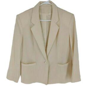 Vtg 100% Pure Wool Blazer Jacket Size 8 Cream USA Union Made  Womens Pockets