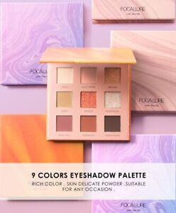 FOCALLURE  9 Colors Eye Shadow Palettes Ring the Alarm, Soft Powder, Night Elf