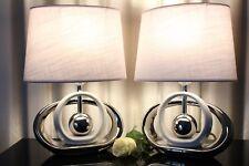 2 Lampen weiß silber Nachttischlampe Leuchte Keramik Tischlampe Tischleuchte 39