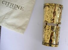 Citrine by the Stones Bracelet Distressed Cuff 24k gold plated