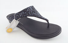 New FITFLOP Size 8 BANDA Roxy Black Micro Crystal Thong Sandals Shoes