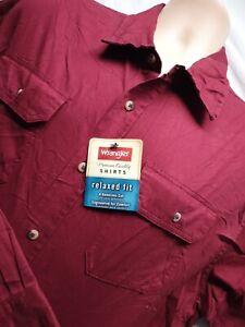 Wrangler Mens XL Stunning Relaxed Fit Dark Red Longsleeve Shirt