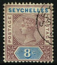 SG 3 SEYCHELLES 1890 - 8c BROWN-PURPLE & BLUE - USED