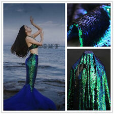 5mm Sequin 2 Way Scale Fabric Reversible Iridescent Mermaid Peacock 100*125cm