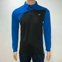 Lacoste Mens Sport Long Sleeves Breathable Tennis Polo Small Fr 3 Black Blue