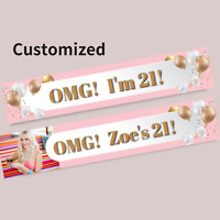 Custom Party Gift Balloons 21st Birthday Photo Banner Decorations Supplies