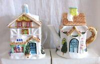 Teapot & Tea Caddy Set, Christmas Cottage Design, Porcelain Houston Harvest