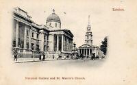 LONDON - National Gallery & St. Martin's Church - 1901 Original Postcard (96L)