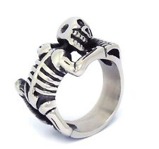 【Ship from USA】Skull Bone Punk Rocker Biker Stainless Steel Ring Size 12