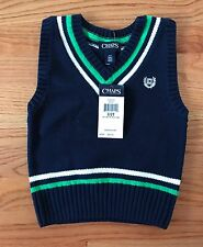 CHAPS boy's blue w/green v-neck sleeveless cotton sweater vest size 2T MSRP $36