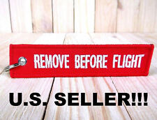 New REMOVE BEFORE FLIGHT embroidered LUGGAGE BAG TAG red keychain FLIGHT CREW