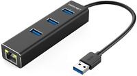 TECKNET 3 Port USB3.0 Hub 10/100/1000 Gigabit Ethernet LAN Wired Network Adapter