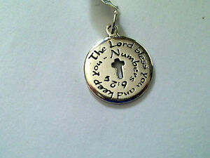 Sterling Silver The Lord Bless you and keep you 6:24 charm /pendant New RRP $48