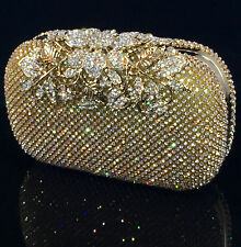Sparkling Clutch Gold Evening Bag made w Swarovski Crystal Filigree Clasp Bridal