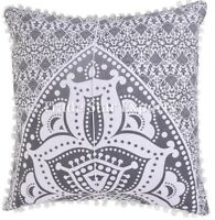 Indian Mandala Euro Sham Cushion Cover 24x24 Decorative Square Throw Pillow Case