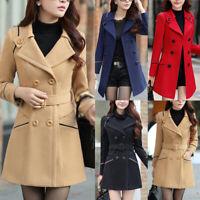Women Slim Winter Warm Wool Lapel Long Coat Button Parka Jacket Overcoat Outwear