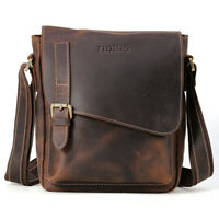 Vintage Mens Satchel Genuine Leather Sling Messenger Shoulder Bag Book Schoolbag