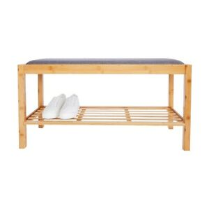 Cushioned Storage Bench with Bamboo Shoe Rack, Natural 35.40'' x 11.80'x14.20''