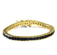 "14k yellow gold women's natural sapphire gemstone bracelet 21.1g vintage 6.25"""