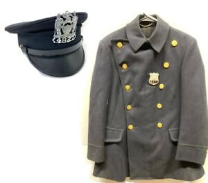 NYC Police Department Double Breasted Reefer Wool Jacket Coat 40 with Hat (58)