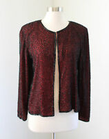 Vtg Red Black Silk Beaded Sequin Evening Jacket Size S Party Formal Holiday