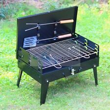 Folding Picnic Camping Charcoal BBQ Grill Adjustable Portable Garden Barbecue