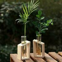 Creative Glass Tube Vase Wooden Stand Decoration Kit   Pot Hydroponic