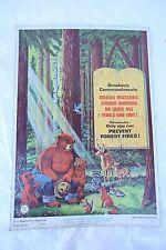 ORIGINAL RARE VINTAGE 1957 SMOKEY THE BEAR USFS FOREST FIRE PREVENTION POSTER