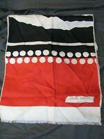 JEAN PATOU PARIS Vintage SILK SCARF Red White BLACK ZEBRA PRINT Polka-Dots