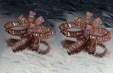 18k Rose Gold Bowknot Earrings made w Swarovski Crystal Bling Baguette Stone Big