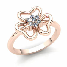 Fancy Right Hand Ring 10K Gold Natural 0.15ct Round Cut Diamond Womens Flower
