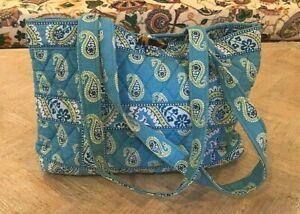 VERA BRADLEY BERMUDA BLUE PATTERN TIC TAC TOTE STYLE SMALL TOTE BAG OR PURSE