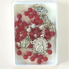 Seven Sorrows Chaplet Rosary  Red Glass Beads  Oxidized Silver Sorrows Medals