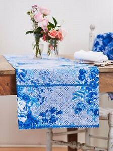 April Cornell Marion Runner Blue Floral Fabric - 100% Cotton 13 by 72
