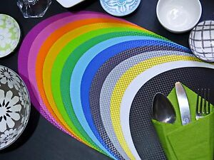 Free Postage. 2pcs Oval Placemat. 13 Colours. Wipe clean,Waterproof, In/Outdoors
