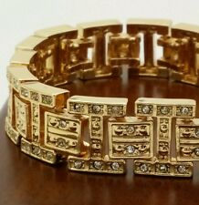 "Men's fashion gold plated 9 "" cz heavy bracelet."